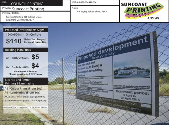 Proposed Development Signs - Suncoast Printing