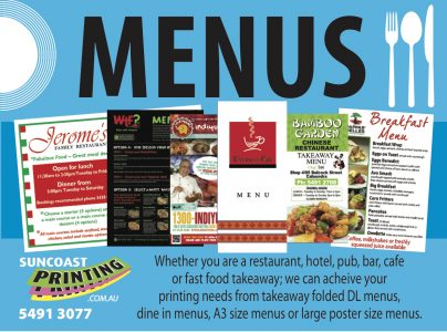 Menus - Sunshine Coast